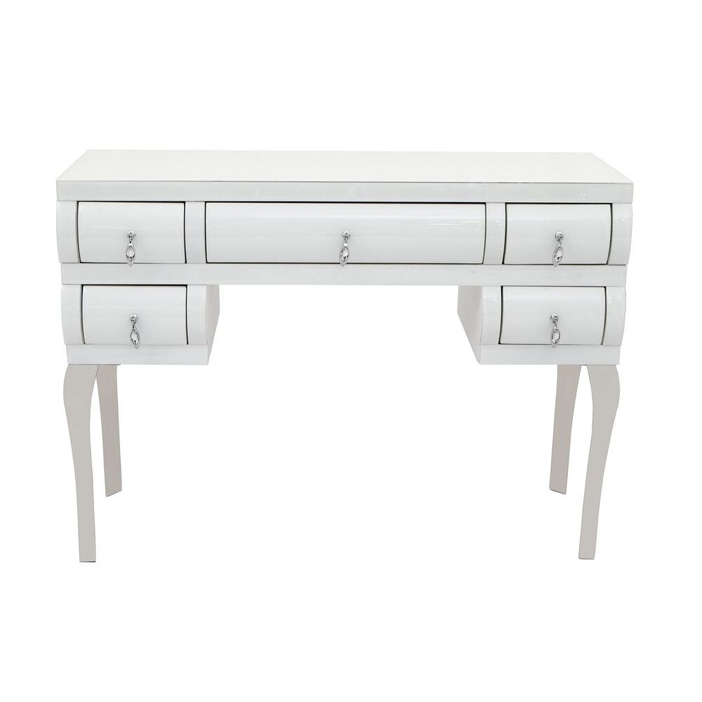 White curved glass 5 drawer dressing console table desk ebay for White and glass console table