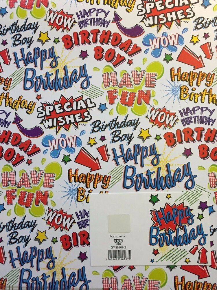Details About NEW BIRTHDAY BOY TEXT WRAPPING PAPER 2 SHEETS 1 MATCHING GIFT TAG