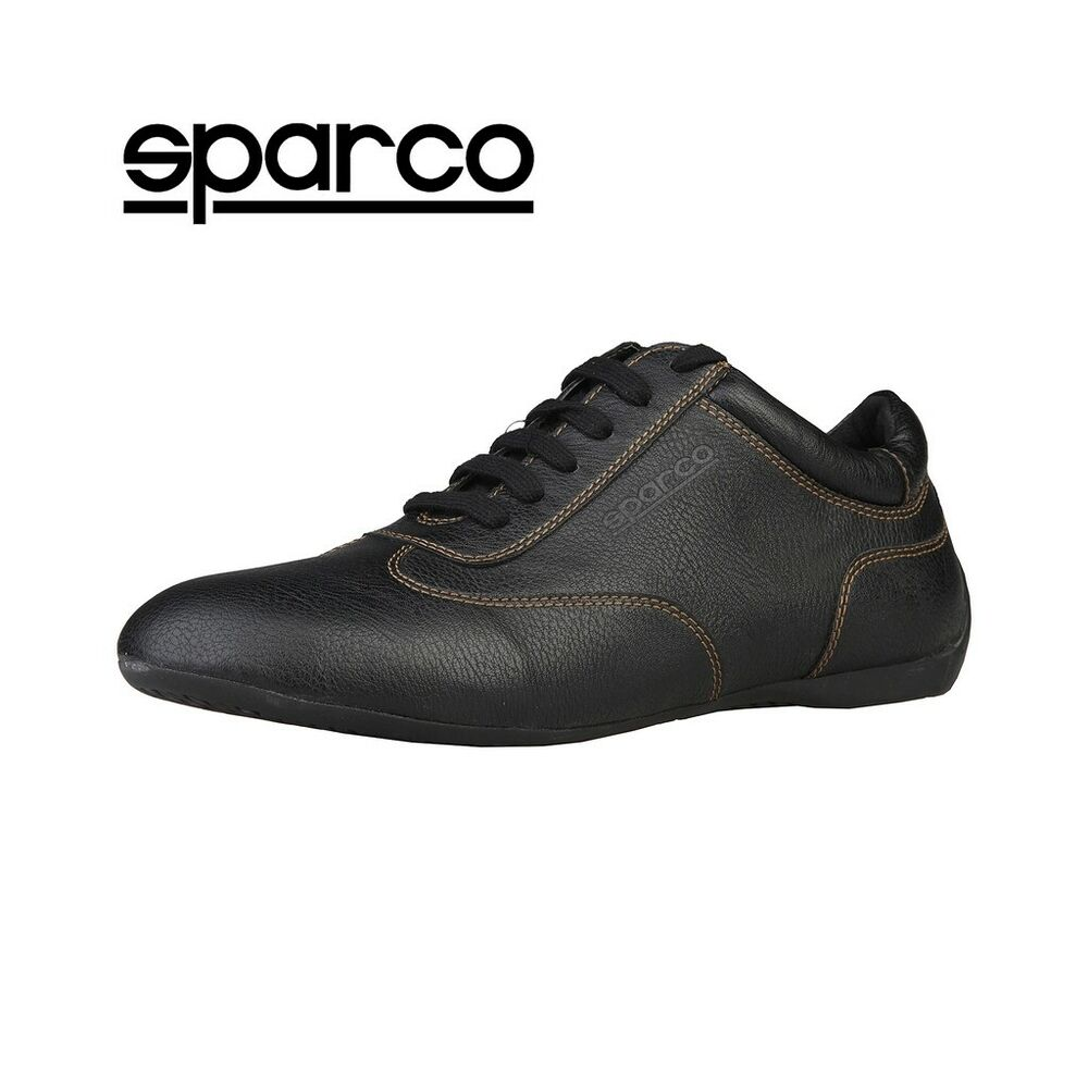 New Sparco Mens Black Leather Sneakers Sport Casual