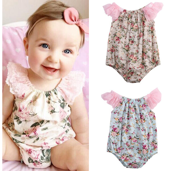 UK STOCK Newborn Baby Girl Bodysuit Lace Floral Romper Jumpsuit Outfits Clothes | eBay