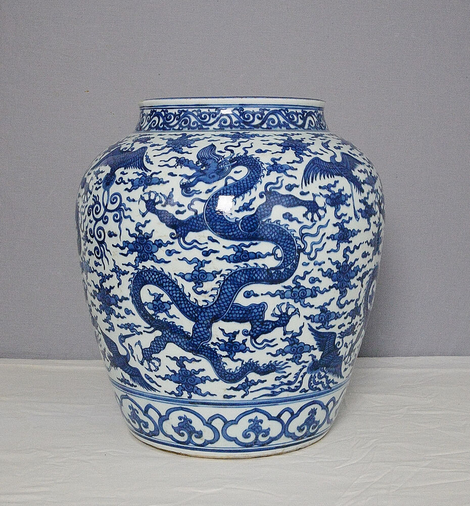 Large Chinese Blue and White Porcelain Pot With Mark M1587 ...