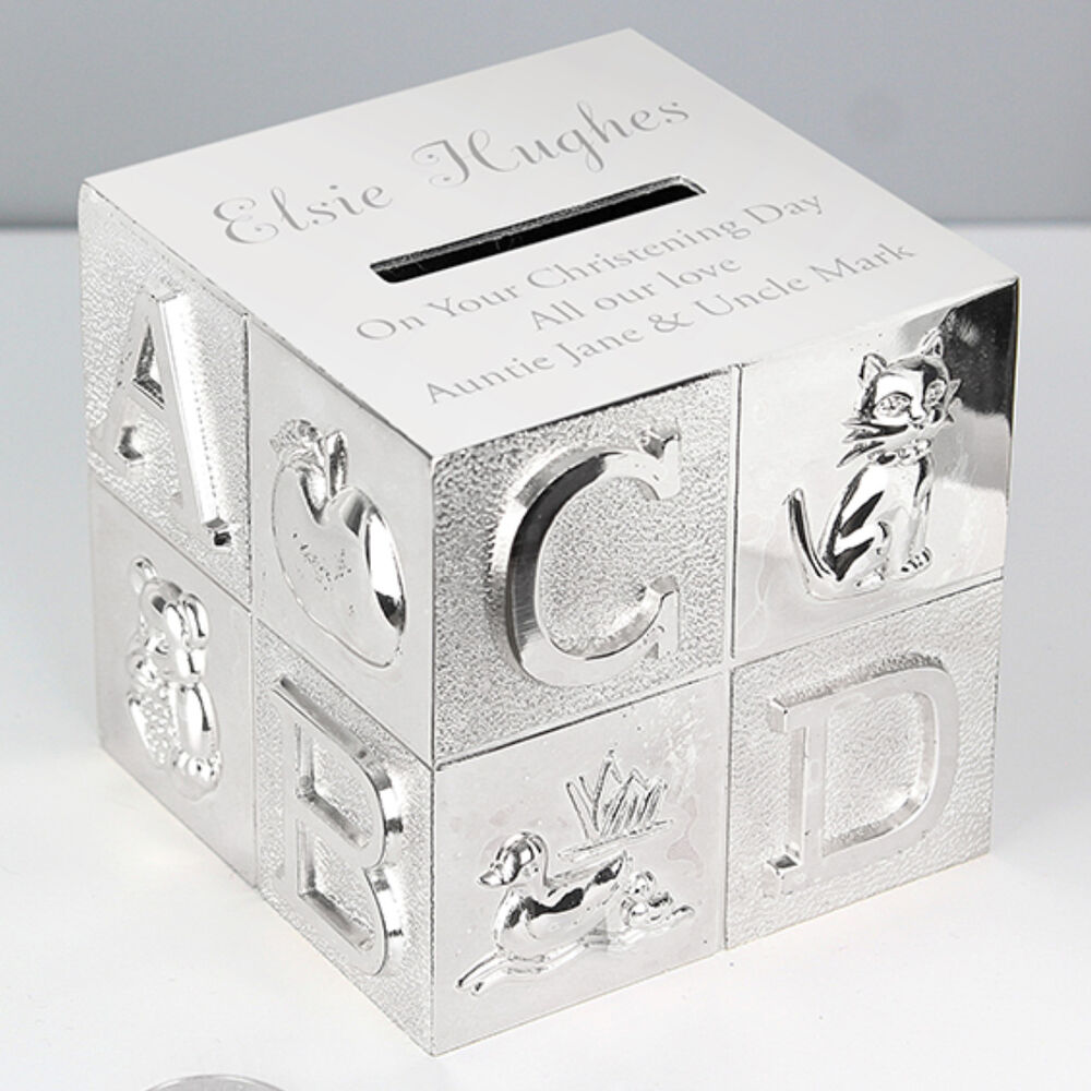 Personalised Engraved Silver Plated Abc Money Box Birthday