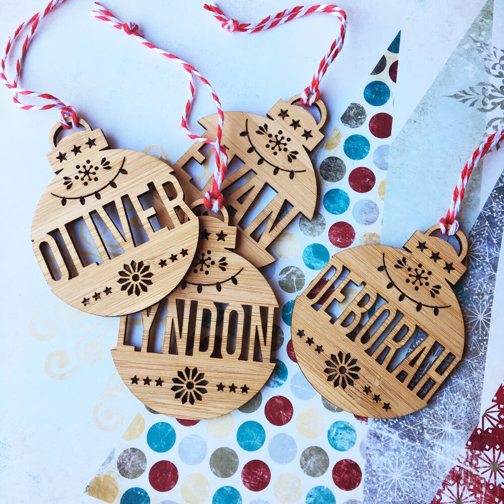 Christmas Decorations With Names On Them: DETAILED NAME PERSONALISED BAMBOO CHRISTMAS ORNAMENTS
