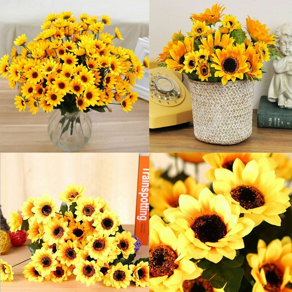 Sunflower Home Decor: Artificial Floral Silk Flower Fake Sunflower Bouquet