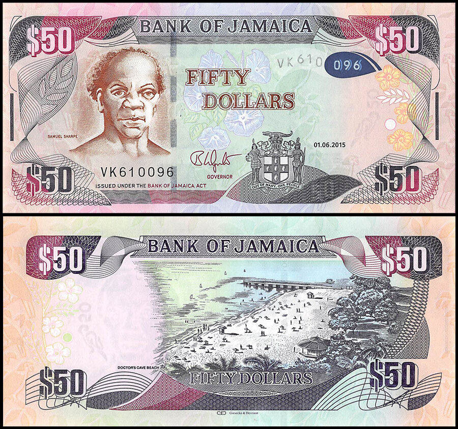 Jamaica 50 Dollars, 2015, P-NEW, UNC | eBay