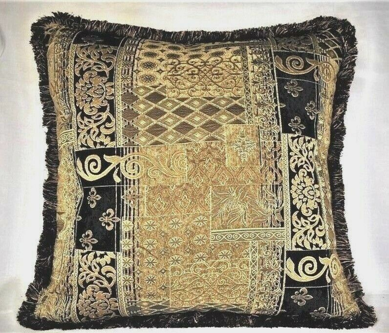Black Gold Traditional Modern Throw Pillow With Fringe For