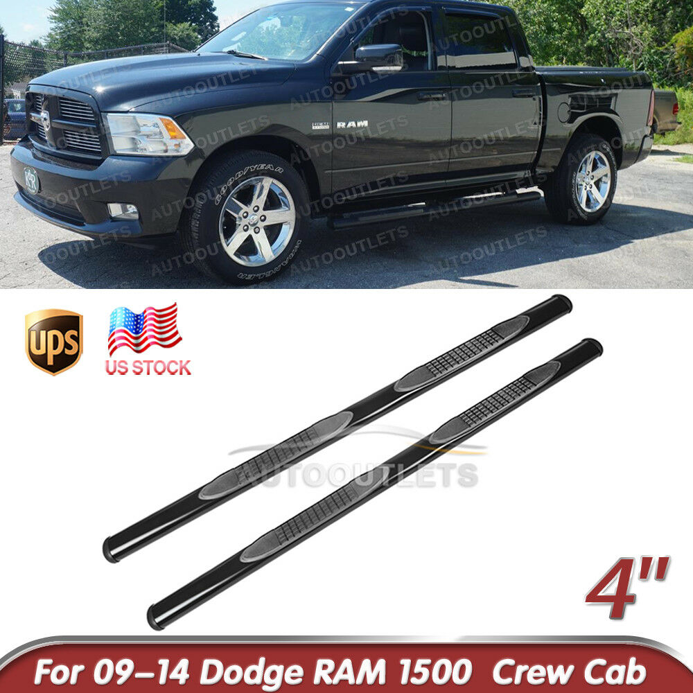 "Ram 1500 Running Boards >> 4"" Side Step Nerf Bars Running Boards For 2009-2014 Dodge Ram 1500 Crew Cab BLK 