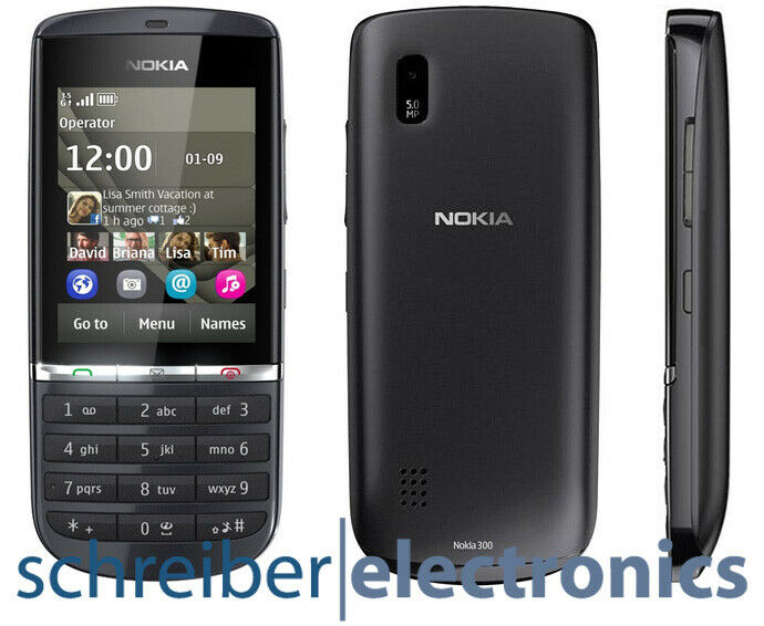 nokia asha 300 handy graphite neu smartphone schwarz vom. Black Bedroom Furniture Sets. Home Design Ideas