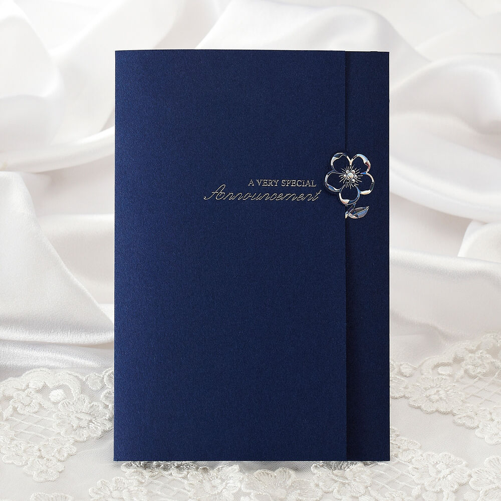 Wedding Invitations Blue And Silver: Navy Blue Silver Foil Wedding Invitations Modern Layered