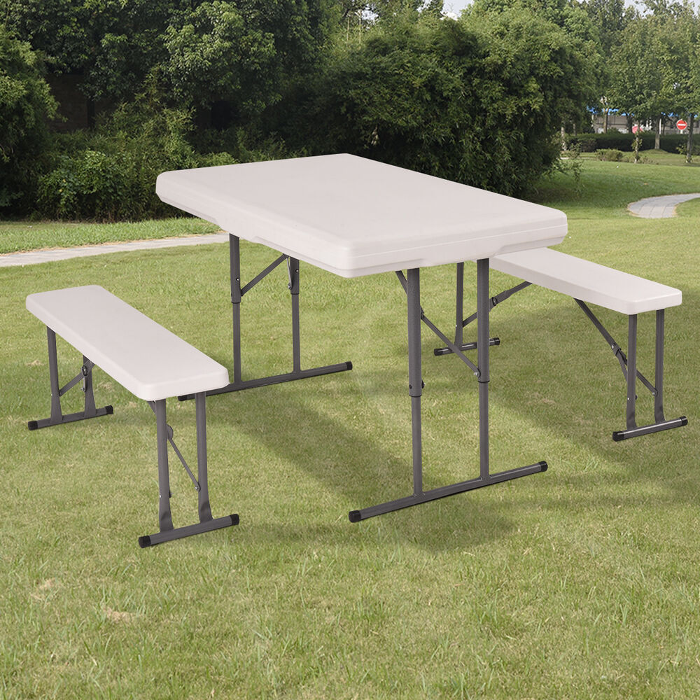 table and benches set chair seat folding picnic patio garden outdoor furniture ebay. Black Bedroom Furniture Sets. Home Design Ideas