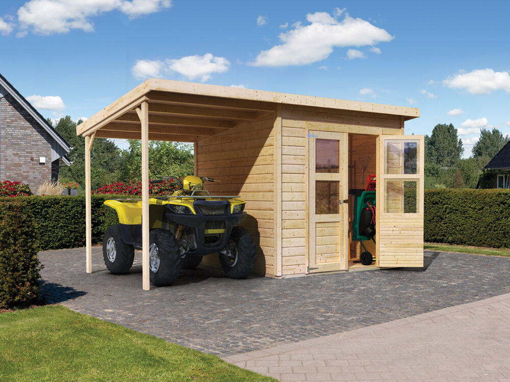 karibu gartenhaus sparset offenbach blockhaus holz ger tehaus holzhaus mit anbau ebay. Black Bedroom Furniture Sets. Home Design Ideas