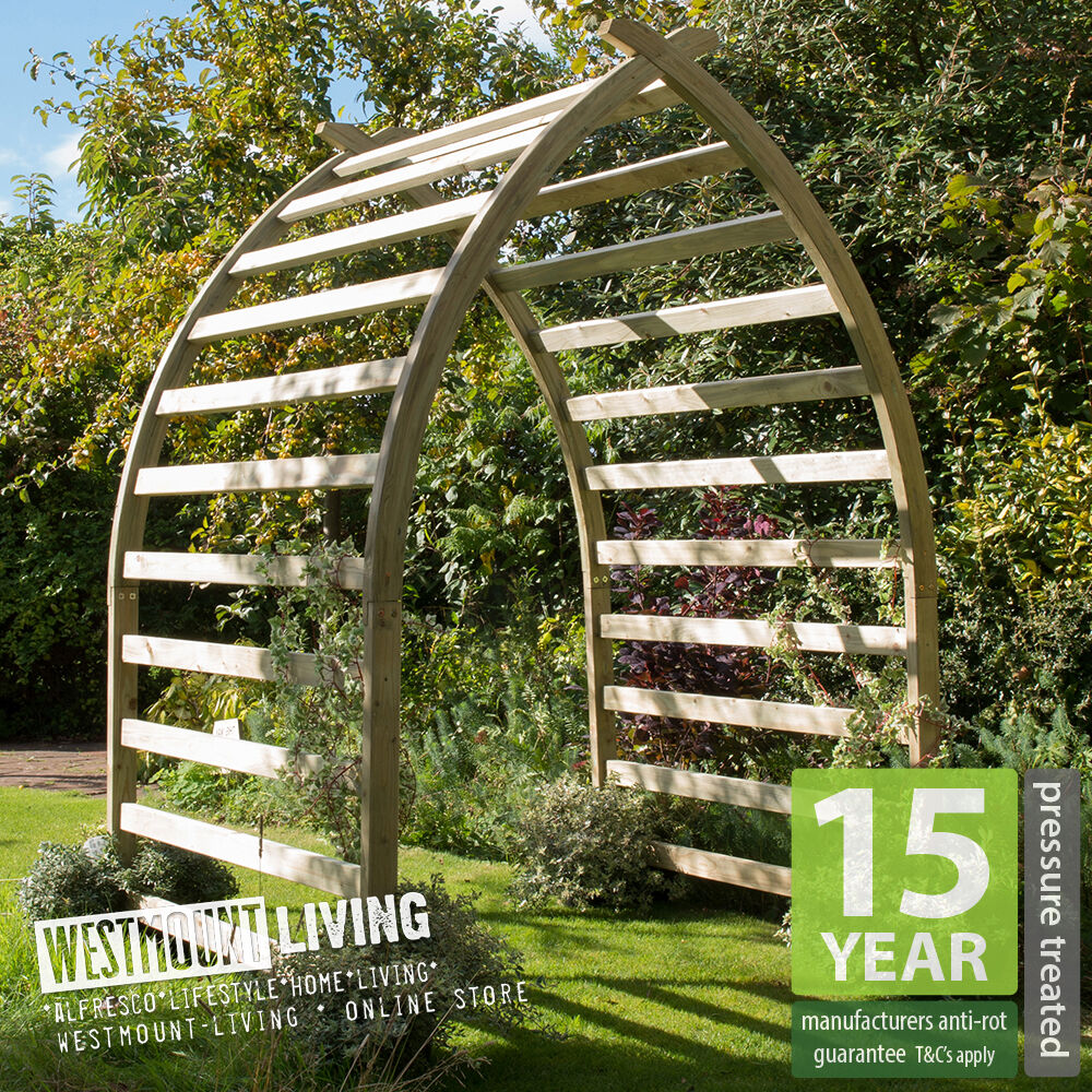 new wooden curved garden arch boat shaped pergola archway. Black Bedroom Furniture Sets. Home Design Ideas