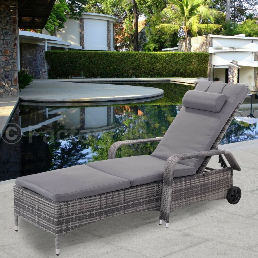 us indoor outdoor adjustable rattan lounge chair sofa chaise bed patio pool side ebay. Black Bedroom Furniture Sets. Home Design Ideas