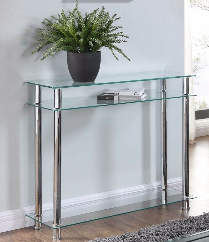 c02ab8658b3d3 Details about Glass Console Table Clear or Black Glass Chrome Legs 2 Tier  Modern Hall Table
