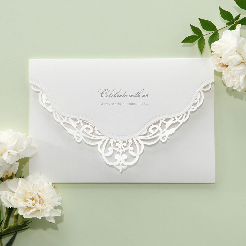 Wedding Invitations With Lace: White Victorian Lace Wedding Invitations Elegant Laser Cut