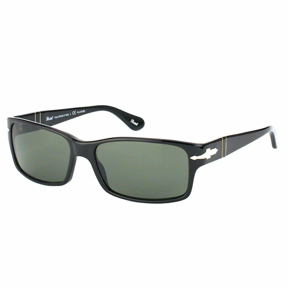 a6b2a15ab8c Details about Persol PO 2803S 95 58 Black Plastic Rectangle Sunglasses  Green Polarized Lens