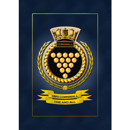 img-HMS CORNWALL SHIPS BADGE/CREST - HUNDREDS OF HM SHIPS IN STOCK