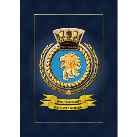 img-HMS FEARLESS SHIPS BADGE/CREST - HUNDREDS OF HM SHIPS IN STOCK