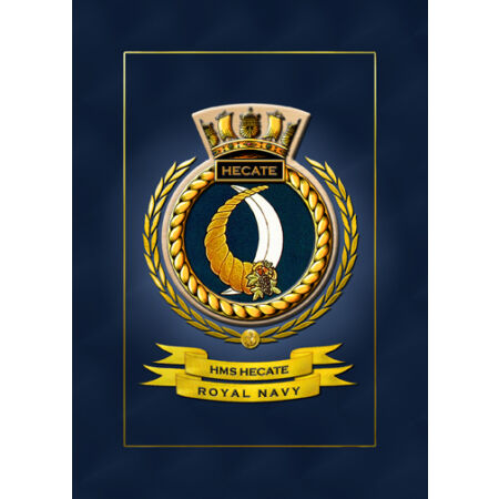 img-HMS HECATE SHIPS BADGE/CREST - HUNDREDS OF HM SHIPS IN STOCK