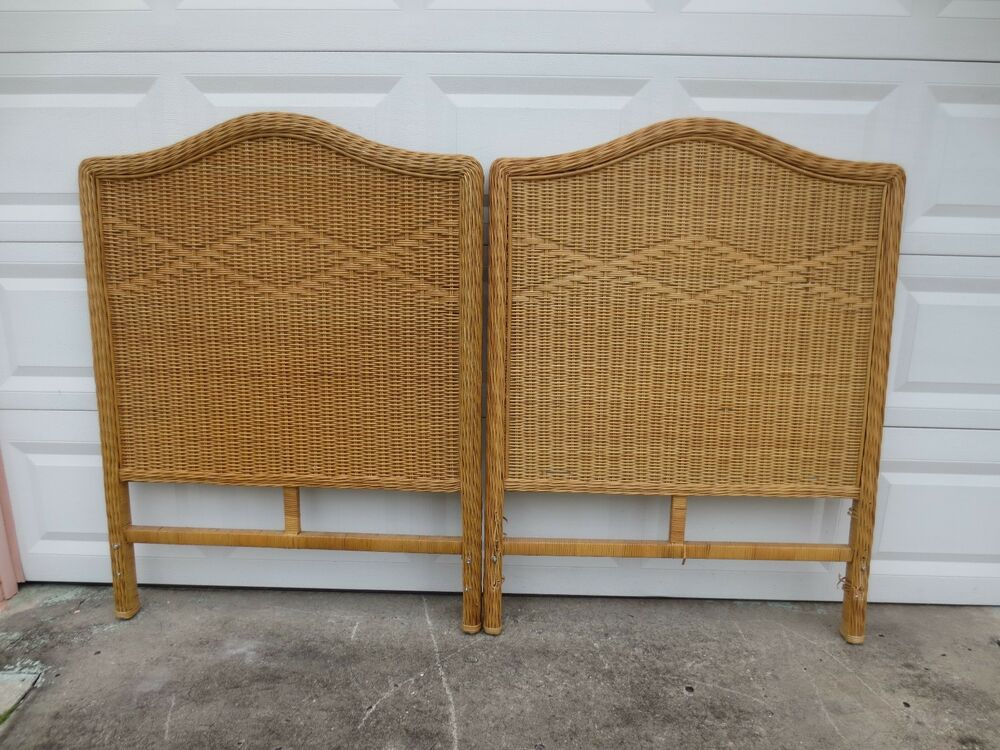 Wicker Pair Twin Size Headboards Rattan Cottage Coastal 2