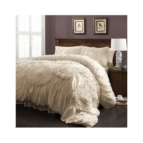 Ruffled Comforter Set Bedding Shabby Floral Chic Ruched