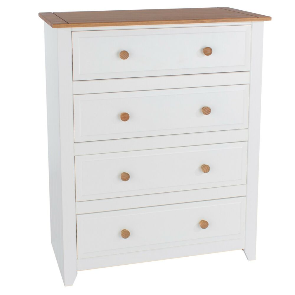 Chest of drawers 4 drawer chest avalon white painted pine bedroom furniture ebay for White bedroom chest of drawers