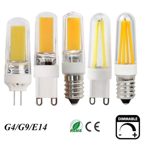Dimmable  LED Filament COB Light Capsule Bulb Lamp G4 G9 E14 2W 4W 6W 9WAC220V
