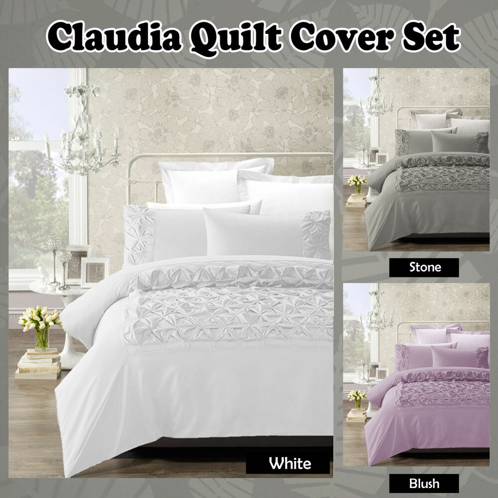 Claudia Stone White Blush Ruched Quilt Cover Set