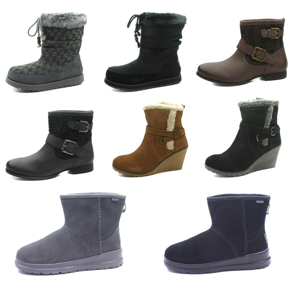skechers womens leather winter boots ebay