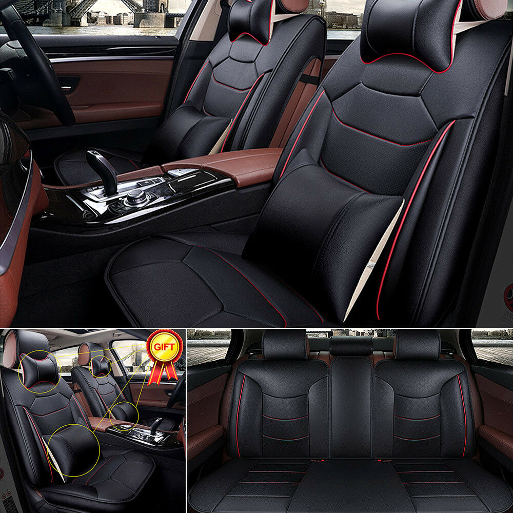 black mircrofiber leather seat covers 5 seats car suv front rear w free 4 pillow ebay. Black Bedroom Furniture Sets. Home Design Ideas