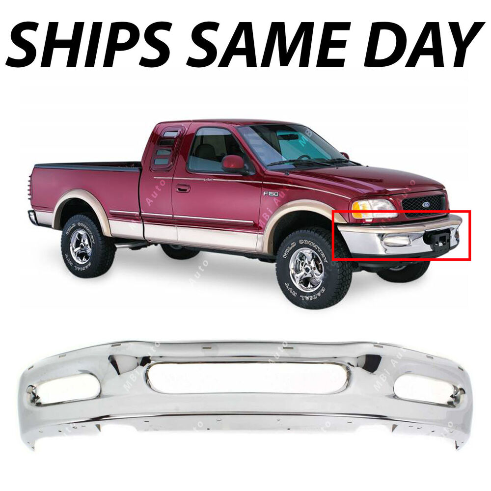 new chrome front bumper bar replacement for 1997 1998 ford f150 expedition 97 98 ebay. Black Bedroom Furniture Sets. Home Design Ideas