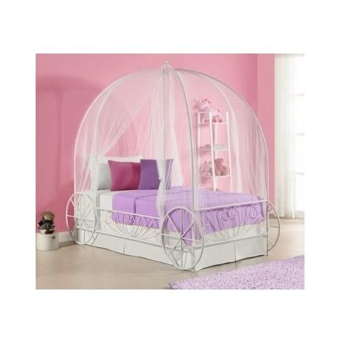 twin metal cinderella princess pumpkin carriage white bed