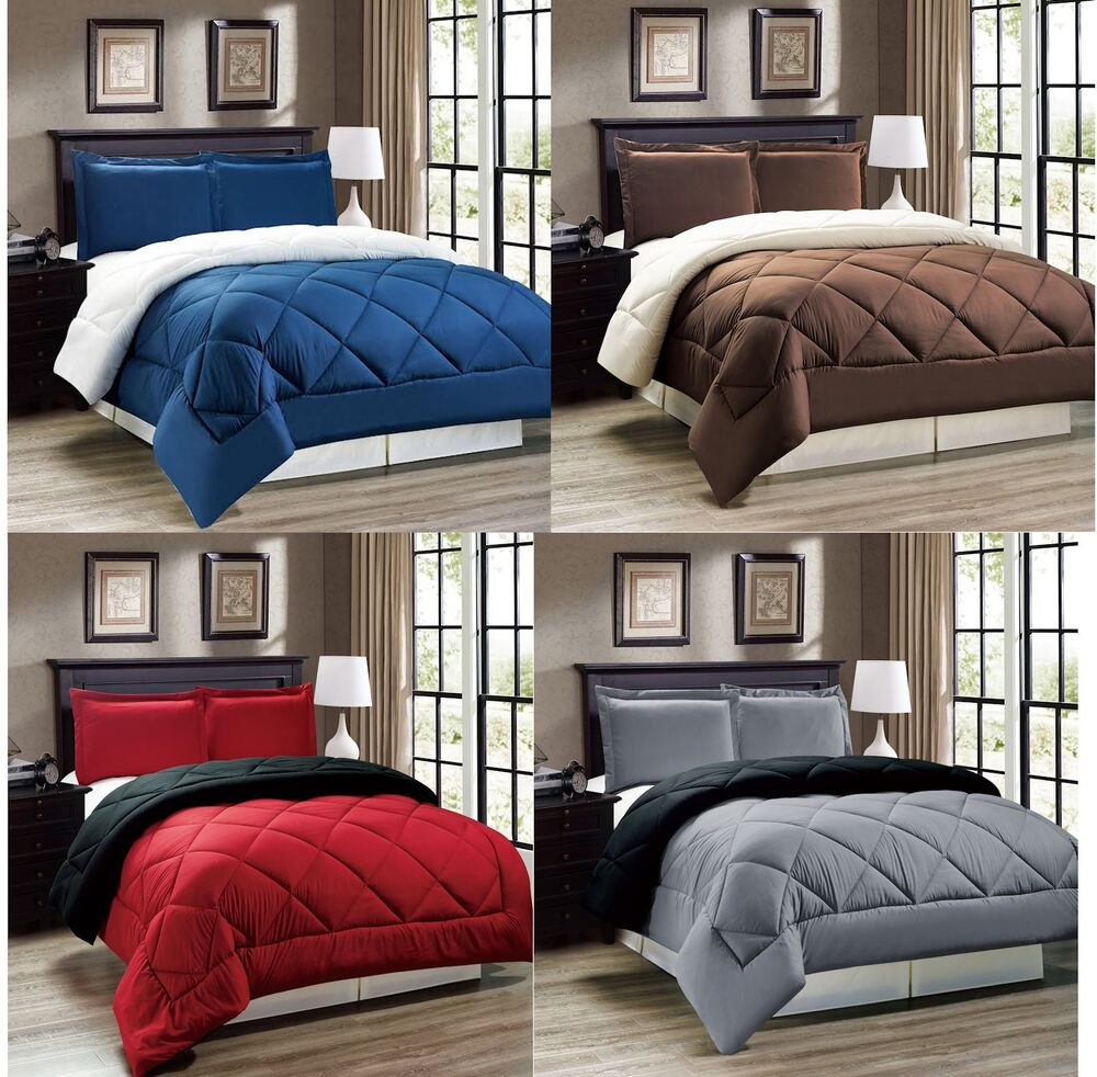 down alternative reversible comforter set twin full queen or king size ebay. Black Bedroom Furniture Sets. Home Design Ideas