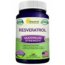 aSquared Nutrition Resveratrol - 100% Pure Natural - 1000mg - 180 Capsules