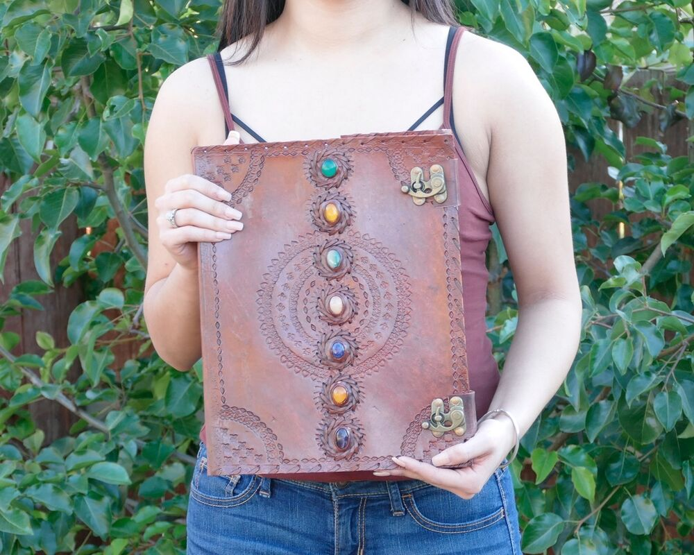 Extra Large 7 Chakra Stone Wicca Handmade Book Of Shadows Leather Journal  13x10