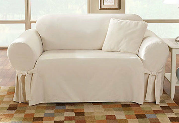 Sure Fit Cotton Duck One Piece Sofa Slipcover Natural Box