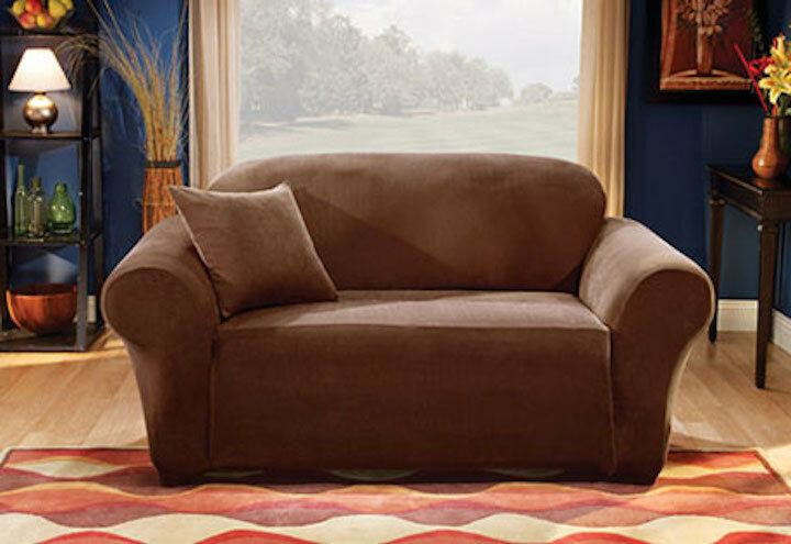 Sofa Slipcover Sure Fit Stretch Stripe One Piece Brown Box