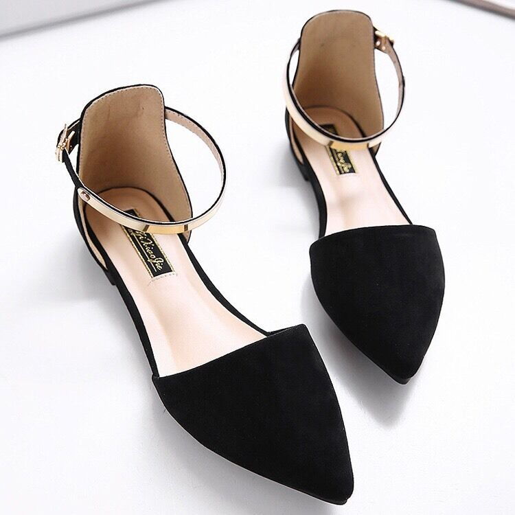 Flat Black Pointed Shoes With Ankle Strap