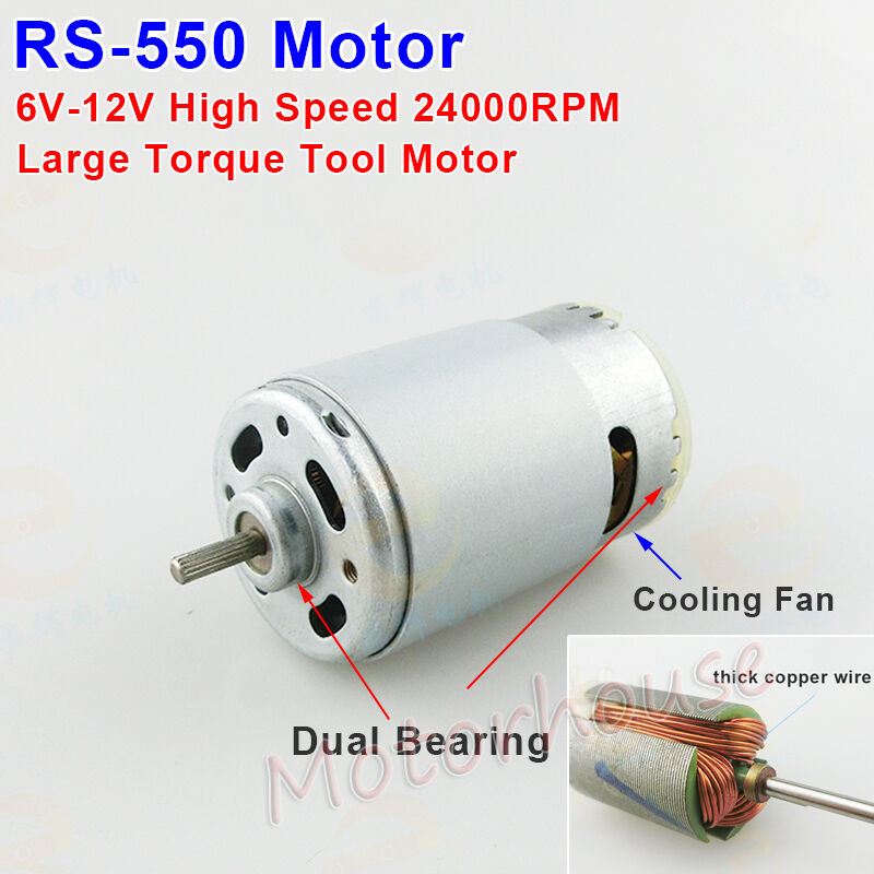 Rs 550 dc motor 24000rpm high speed large torque cooling for Large dc electric motor