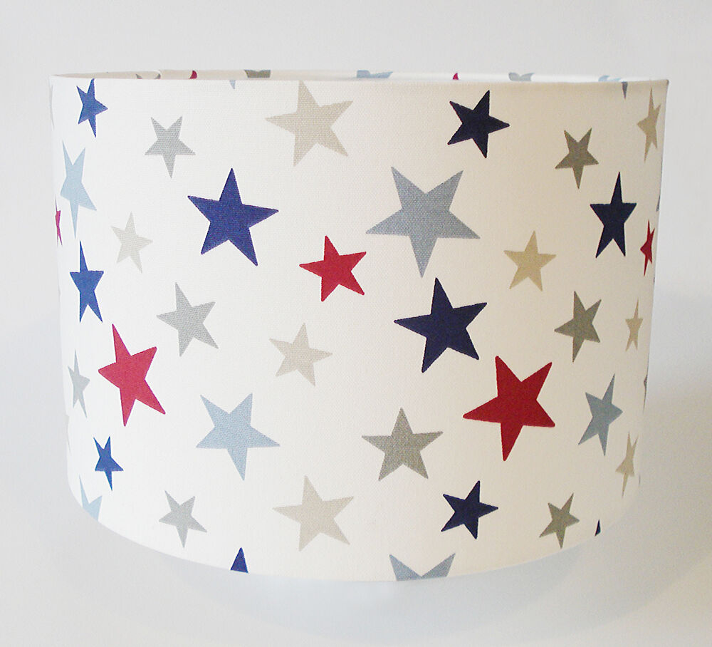 Children 39 s boys red blue grey star fabric ceiling light for Grey childrens fabric