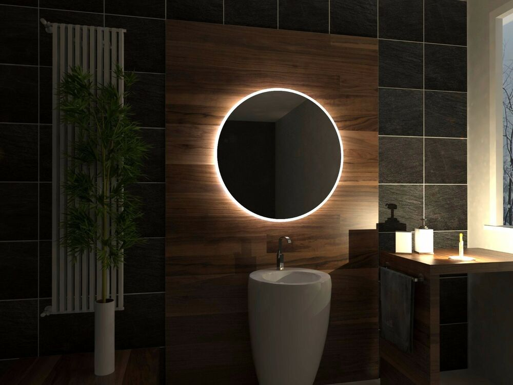 Modern Led Lighted Wall Mounted Vanity Mirror Round Shape: LED Illuminated Bathroom Mirror Delhi 80x80 Cm