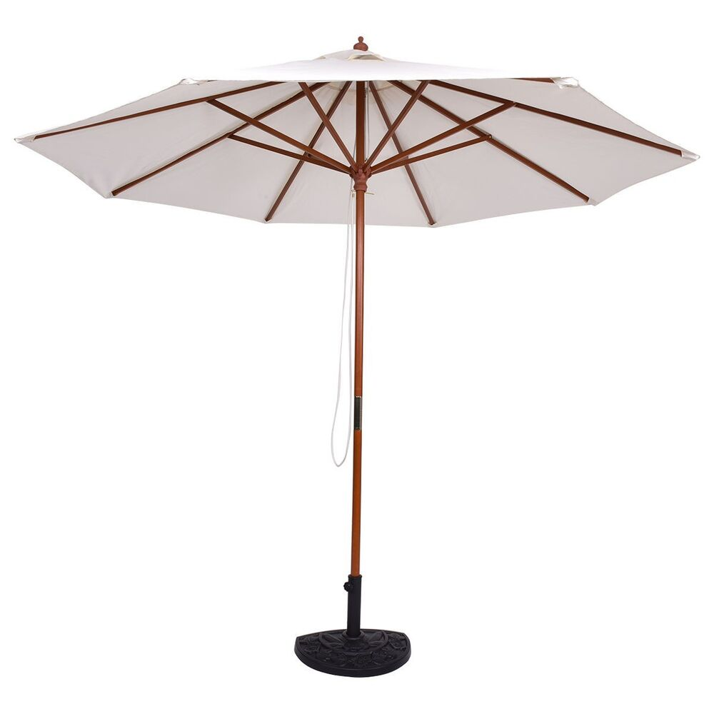 Adjustable 10ft Wooden Umbrella Wood Pole Outdoor Patio