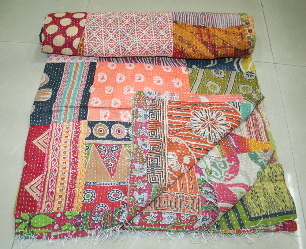 Book Cover Handmade Quilts : Vintage patchwork kantha quilt handmade cotton bedspread