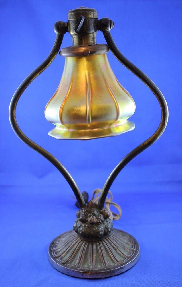 Antique Bradley And Hubbard Harp Lamp With Signed Steuben
