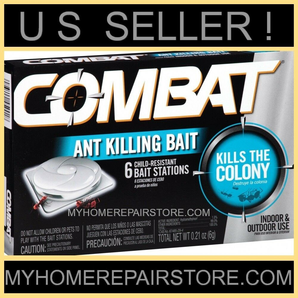6 FOR $ 9 ! 1 BOX OF 6 COMBAT ANT KILLING BAIT STATIONS ! KILLS THE ...
