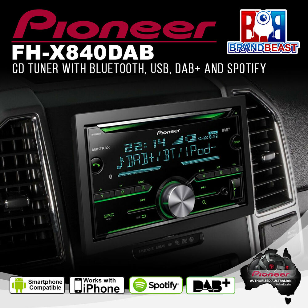 pioneer fh x840dab double din bluetooth bt cd mp3 ipod car. Black Bedroom Furniture Sets. Home Design Ideas