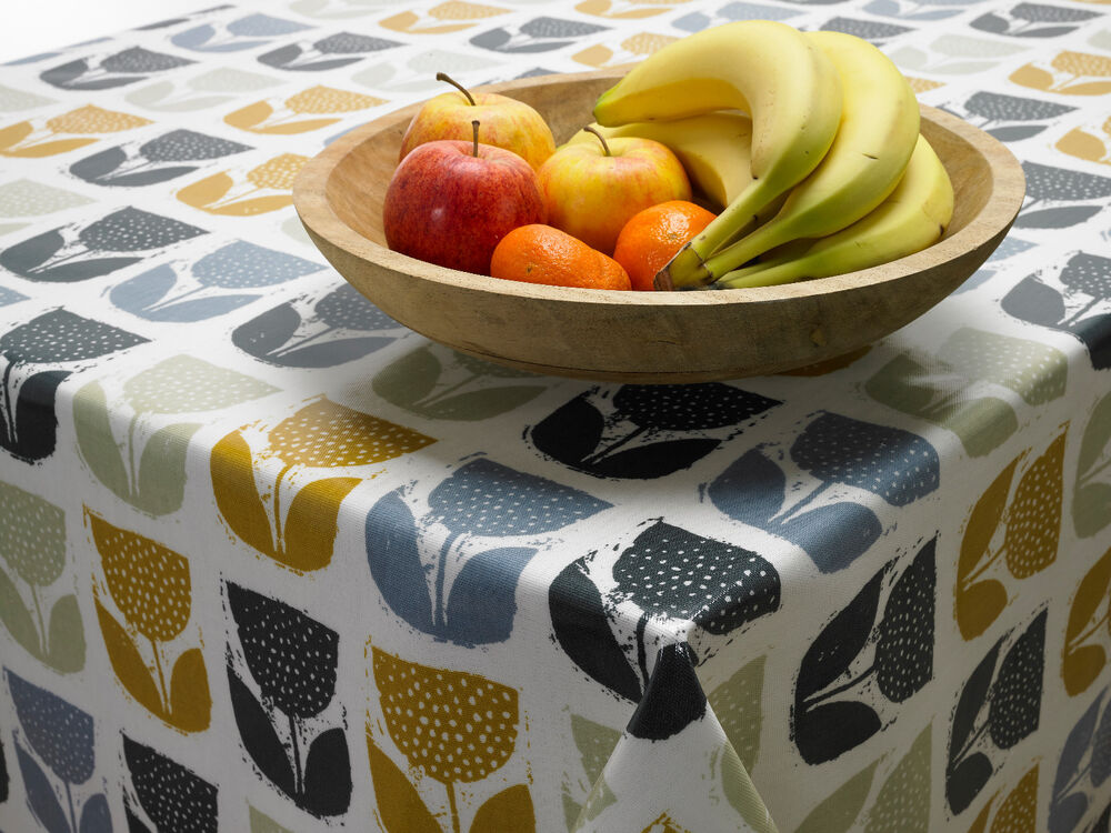 Sage Grey Black Fl Scandinavian Wipeclean Oilcloth Tablecloth Multiple Sizes