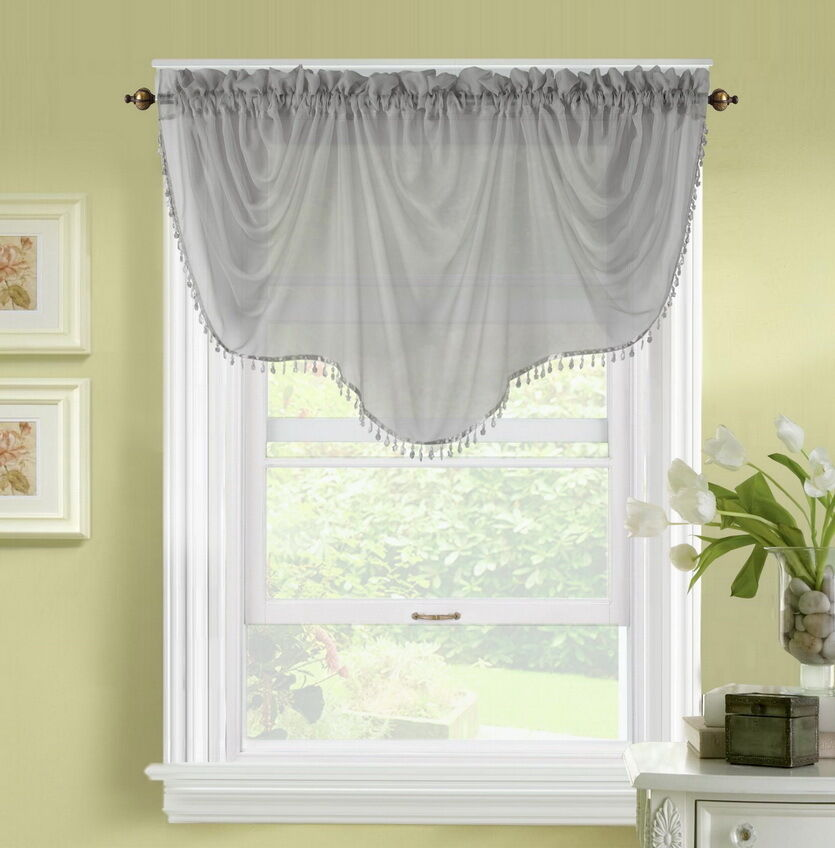 1pc Bonita Gray Voile Sheer Valance Swag Topper Window