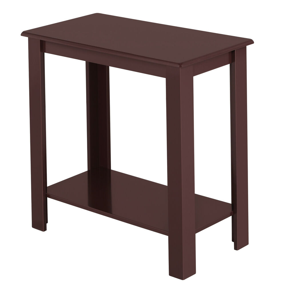 Espresso wooden chair side coffee end table shelf rustic for Side table for sectional sofa