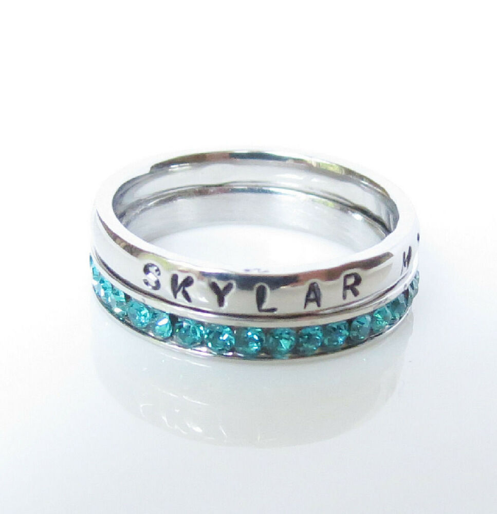 stackable personalized birthstone ring stainless steel